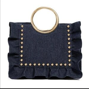 Brand new Kate Spade denim tote with gold studs